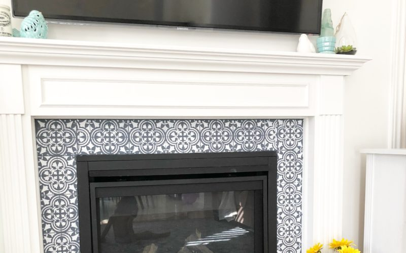 stencilled fire place