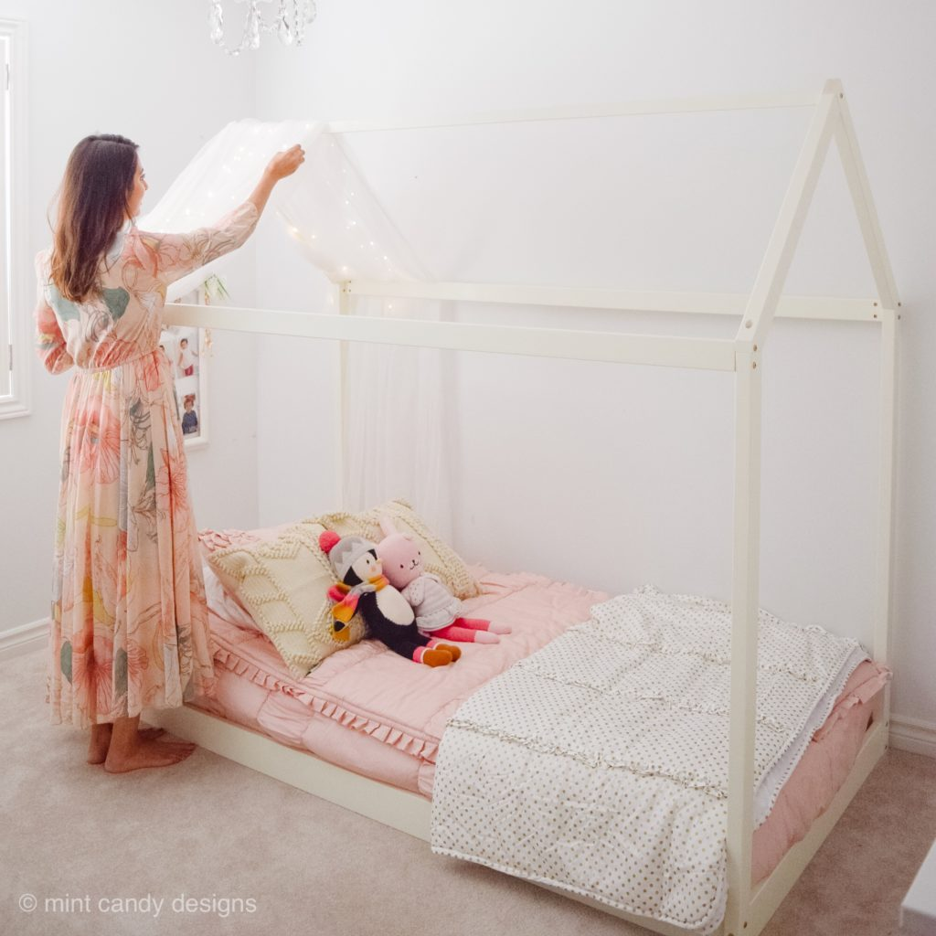 Areeba decorating her daughters room with a montessori toddler bed