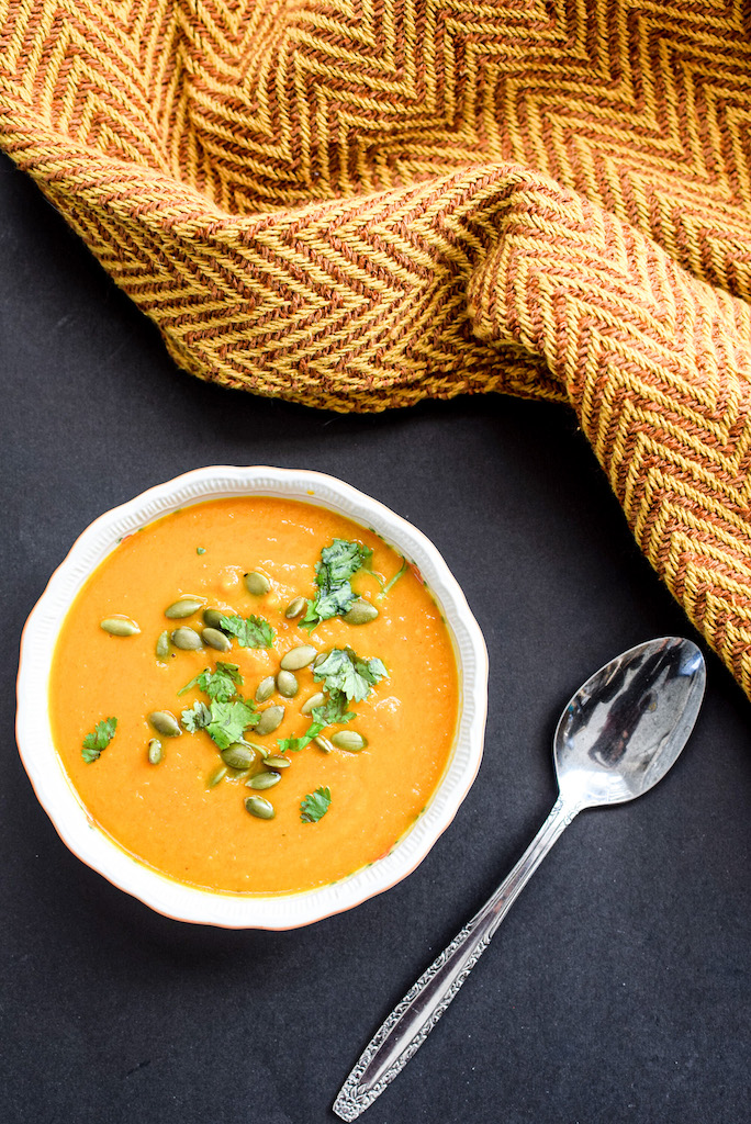 fall sweet potato and carrot curry soup - mint candy designs